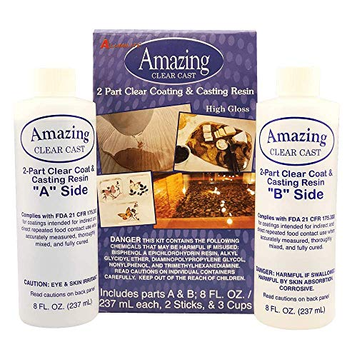 Alumilite Amazing Clear Cast 10590, 8 Oz of Clear Coating and 8 Oz of...