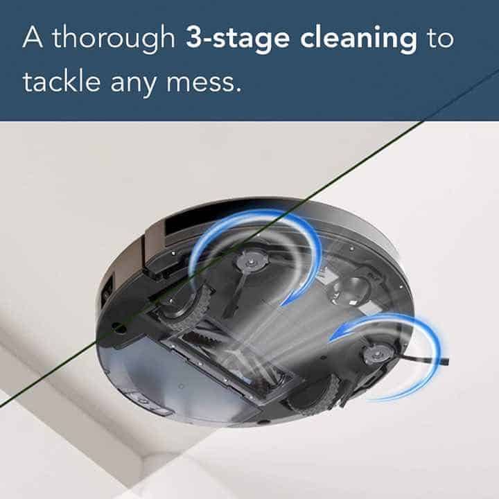 Ecovacs Deebot n79s uses a 3-stage cleaning process and technology