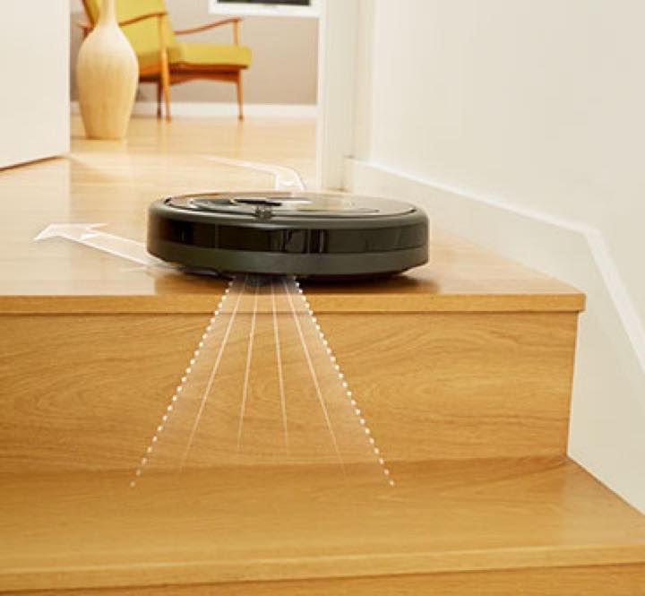 iRobot Roomba 675 has cliff sensors to prevent it from dropping down stairs
