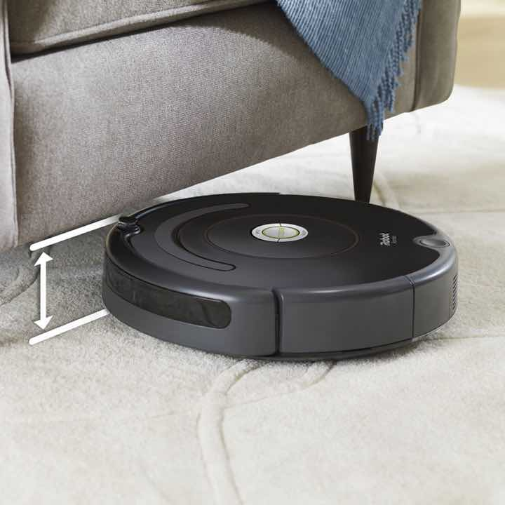 iRobot Roomba 675 Height and slim to fit under sofas, coffee tables, chairs, and more.