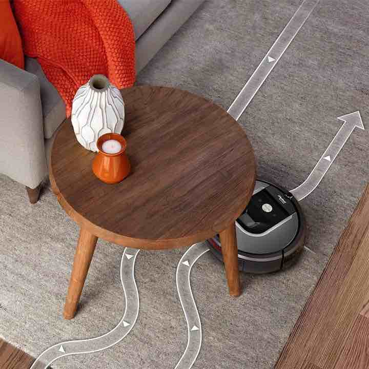 iRoboto Roomba 960 Slim Features allows it to move easily under coffee tables and more.