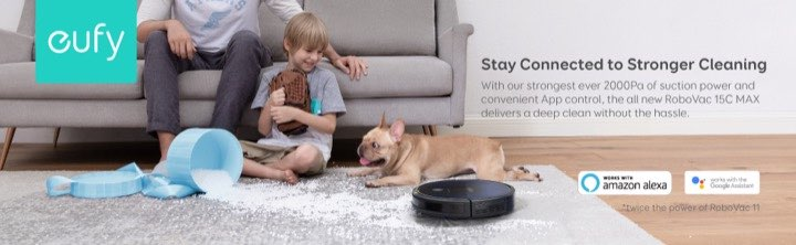 eufy Robovac 15c Max has strong cleaning with 2000Pa of suction power